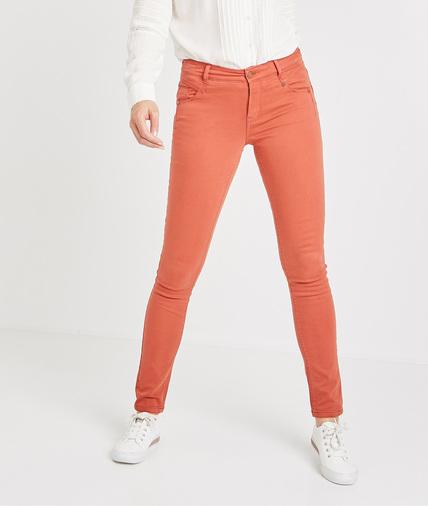 Pantalon slim push up de couleur PAPRIKA