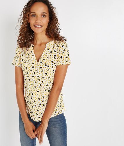 T-shirt imprimé avec zip ECRU
