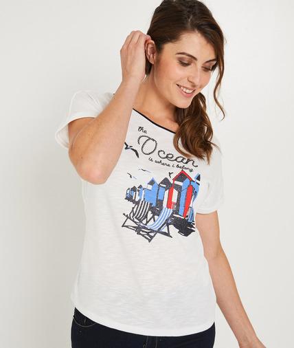 T-shirt blanc avec print BLANC