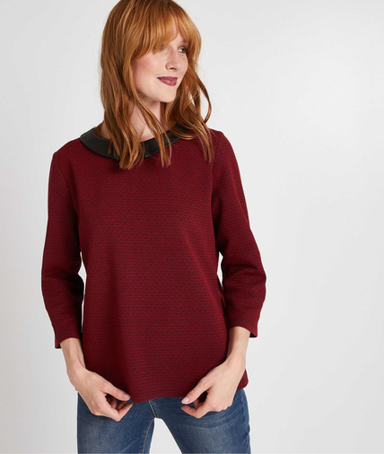 Sweat manches 3/4 et col Claudine ROUGE