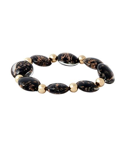 Bracelet élastique avec perles de verre NOIR