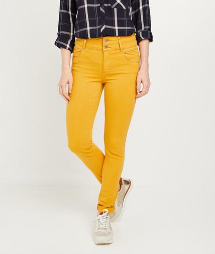 Pantalon slim taille haute femme CURRY