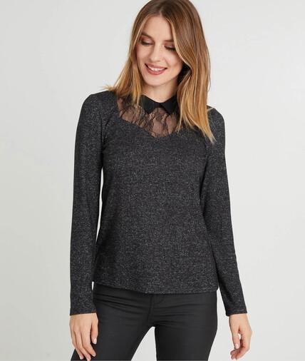 T-shirt gris dentelle femme GRIS