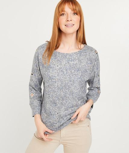T-shirt imprimé avec oeillets femme GRIS