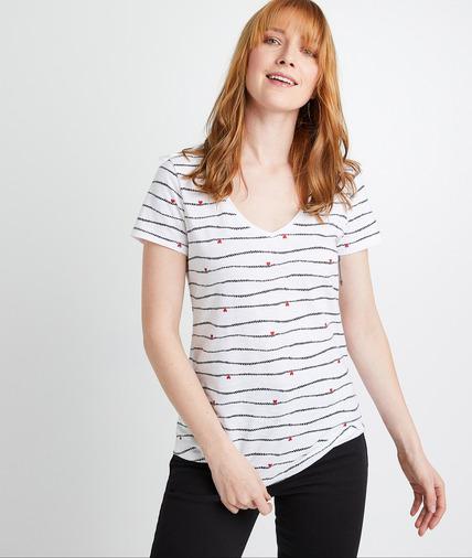 T-shirt en coton imprimé femme BLANC
