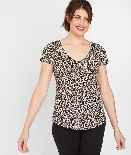 T-shirt femme imprimé en coton BEIGE
