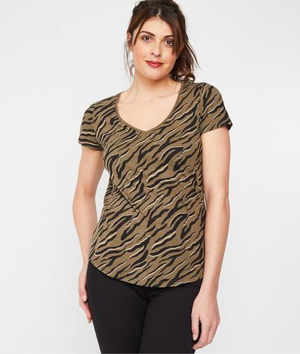 T-shirt femme imprimé en coton KAKI