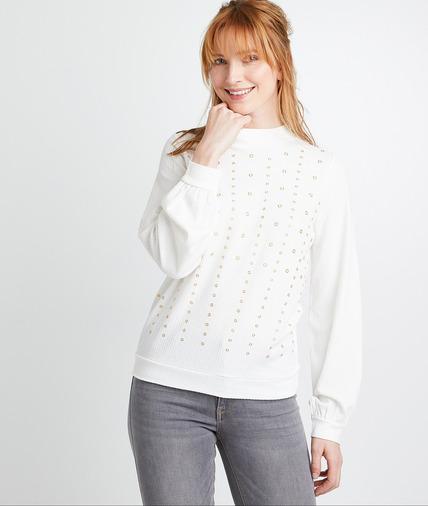 T-shirt blanc à oeillets femme ECRU