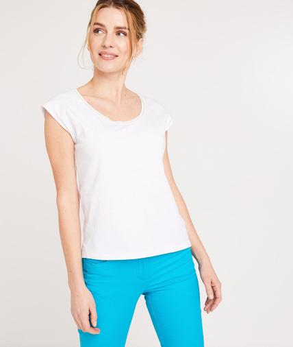 T-shirt en coton uni femme BLANC