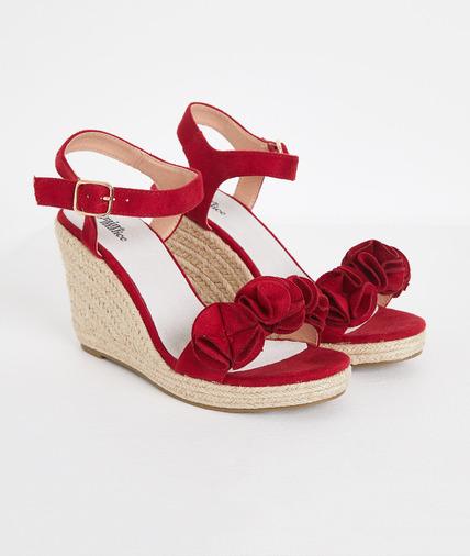 Sandales compensées rouges femme ROUGE