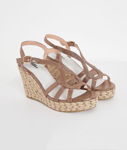 Sandales compensées brillantes femme CUIVRE