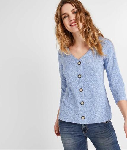 T-shirt bleu ciel boutonné femme BLEU