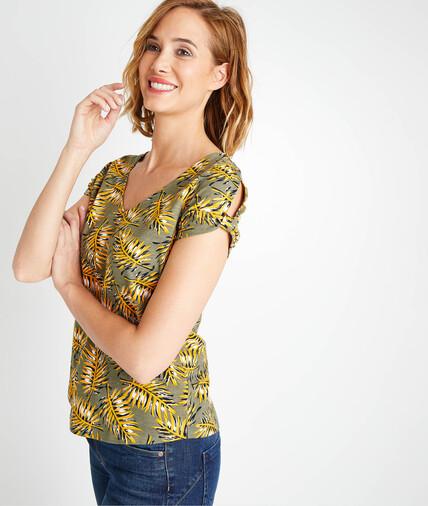 T-shirt imprimé coloré femme KAKI
