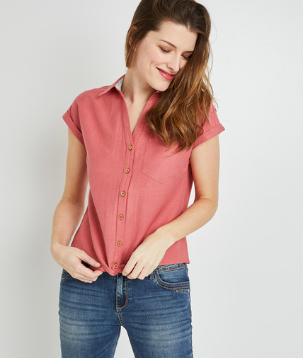 Chemise manche courte colorée femme BLUSH