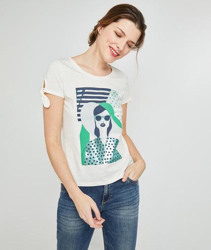 T-shirt en coton blanc pint femme BLANC CASSE