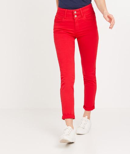 Pantalon taille haute raccourci femme ROUGE
