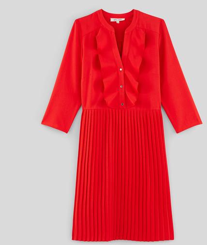 Robe rouge plissée à volants femme ROUGE