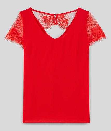 T-shirt en coton avec dentelle femme ROUGE