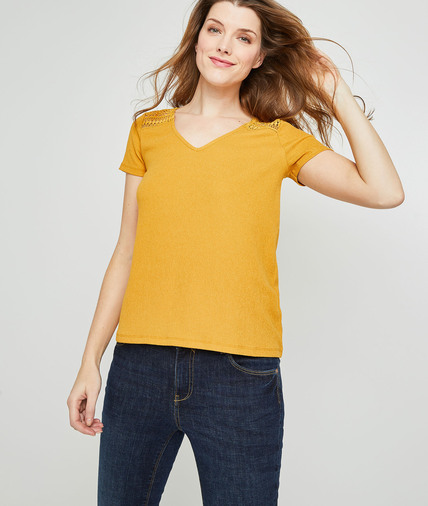 T-shirt maille froissée et guipure femme SAFRAN