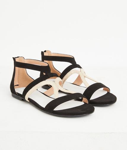 Sandales plates noires femme NOIR