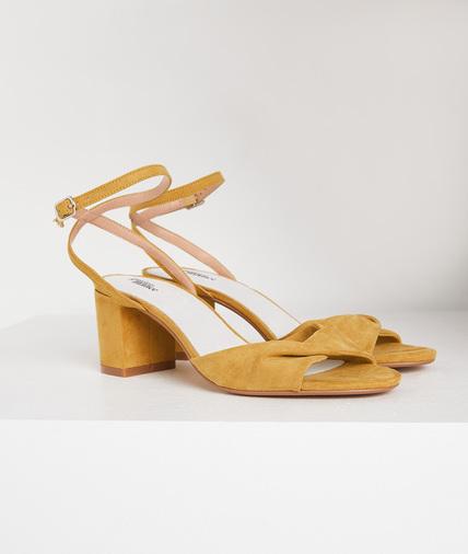 Sandales jaunes talon carré femme JAUNE
