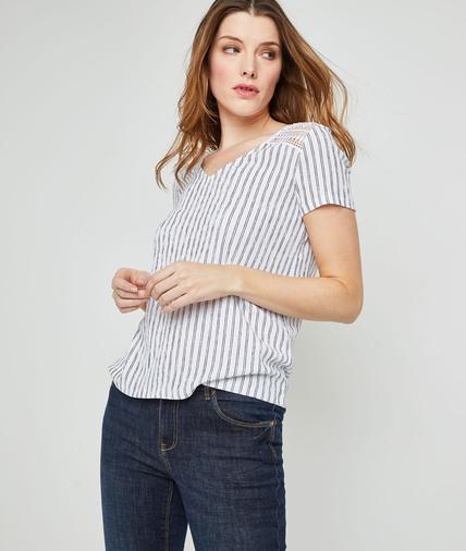 T-shirt maille froissée imprimée femme BLANC