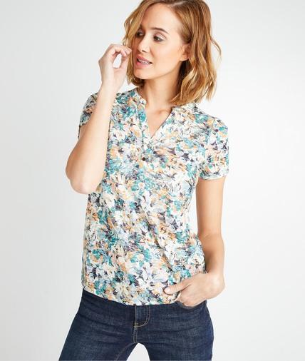 T-shirt imprimé fleuri femme MULTICOLORE