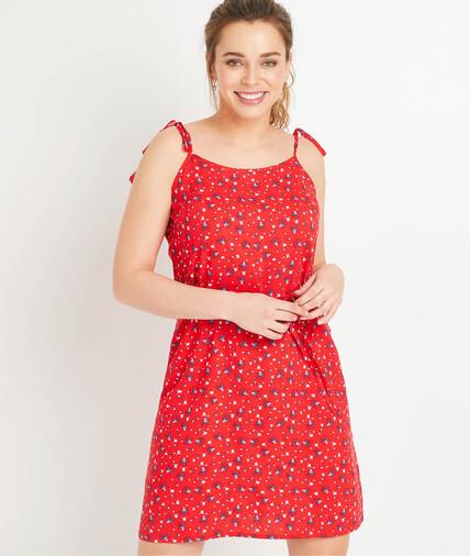 Robe rouge imprimée à bretelles femme IMPRIME