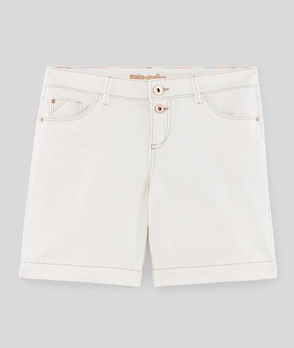 Short en jean femme ECRU