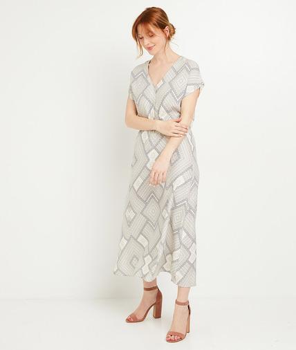 Robe longue imprimée femme BLEU