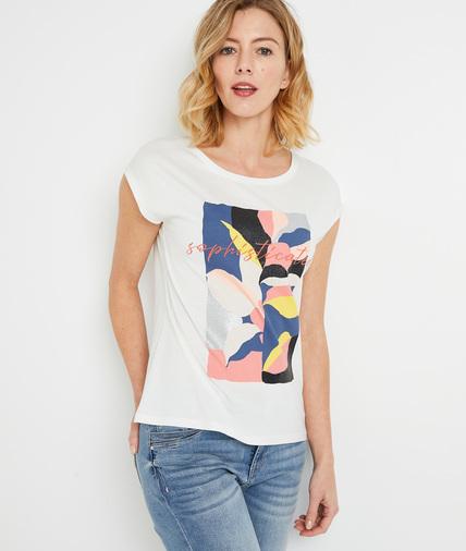 T-shirt print majorité coton femme BLANC CASSE