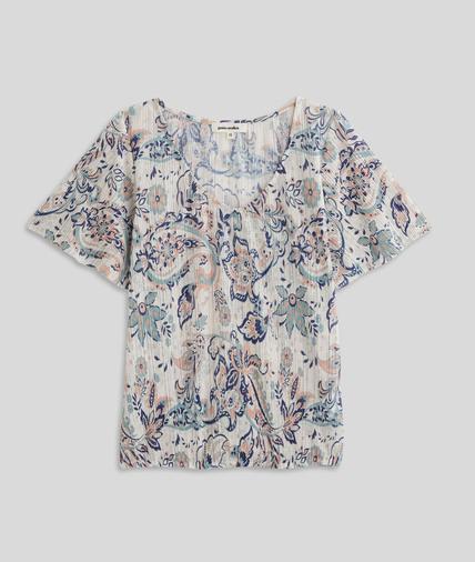 T-shirt imprimé effet plissé femme ECRU