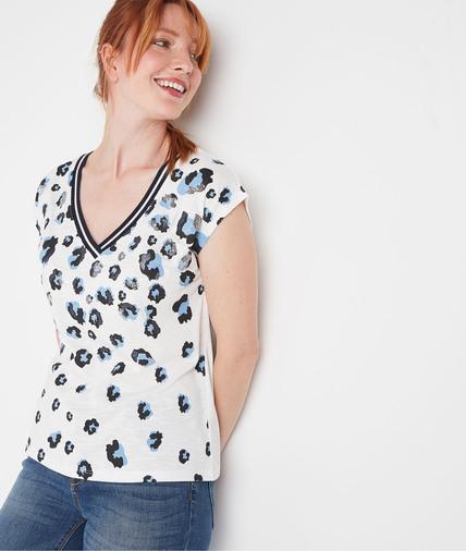 T-shirt imprimé léopard et sequins femme BLANC CASSE