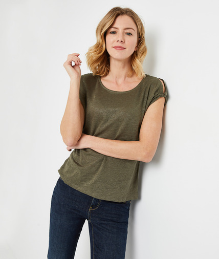 T-shirt en lin uni femme KAKI