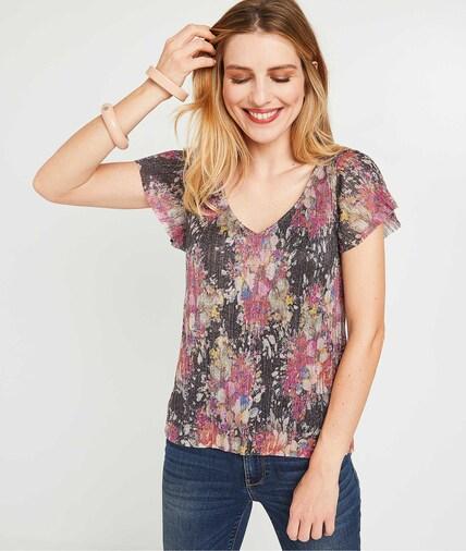 T-shirt imprimé et brillant femme MULTICOLORE