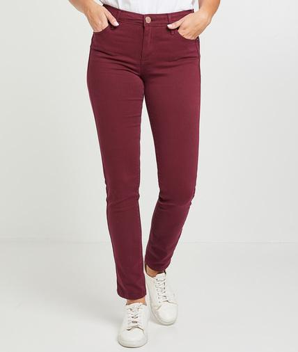 Pantalon slim push up coloré femme GRENAT