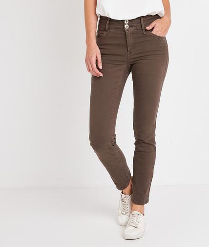 Pantalon taille haute raccourci femme KAKI