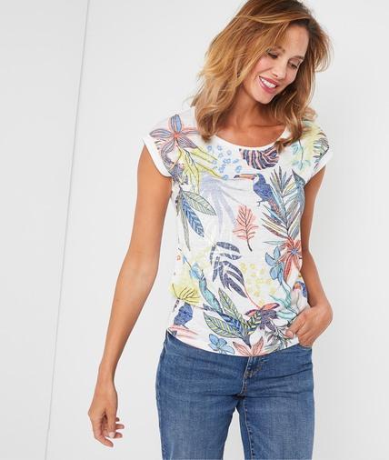 T-shirt blanc avec print coloré femme BLANC