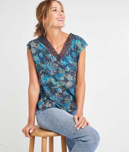 T-shirt bi-matières coloré femme MARINE