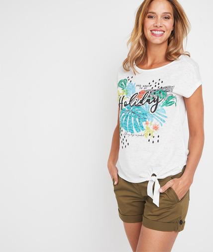 T-shirt blanc print estival femme BLANC