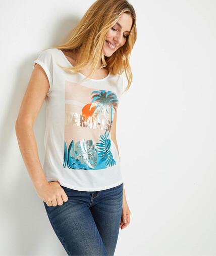T-shirt imprimé femme BLANC