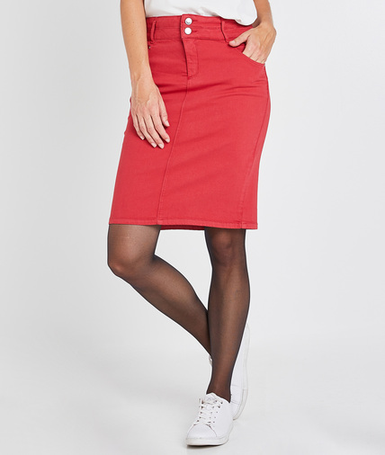 Jupe rouge taille haute femme ROUGE