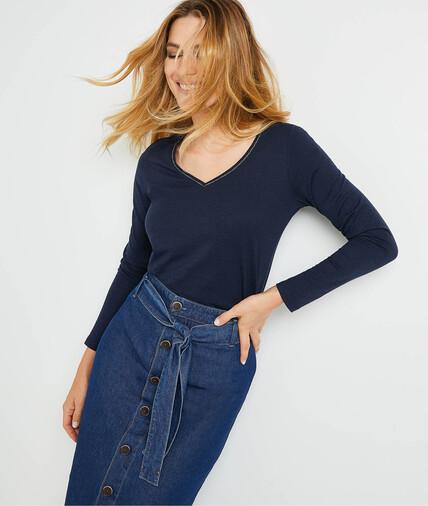 T-shirt manches longues uni femme MARINE