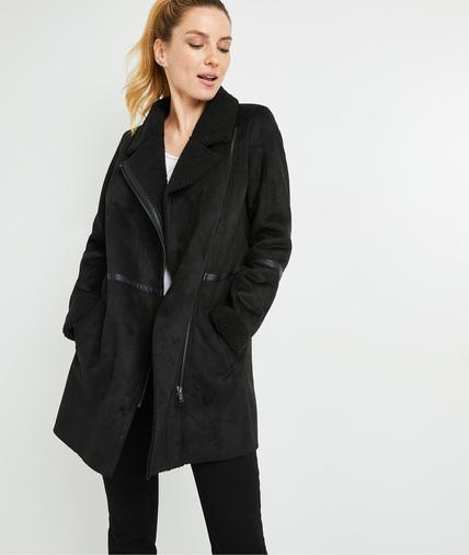Manteau doux noir femme NOIR