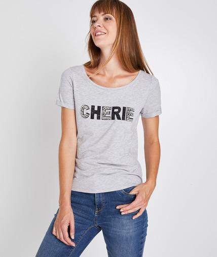 T-shirt gris message chérie femme GRIS