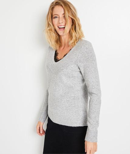 Pull tricot gros avec dentelle femme GRIS