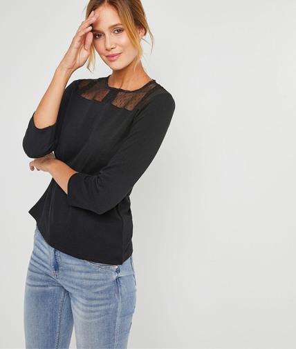T-shirt doux avec plumetis brodés femme NOIR