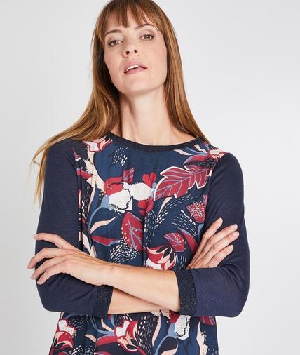 T-shirt marine imprimé fleuri femme MARINE