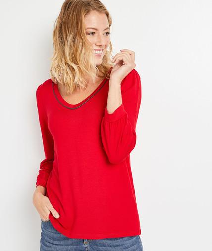 T-shirt uni manches 3/4 femme ROUGE
