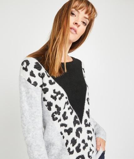Pull motif léopard femme GRIS